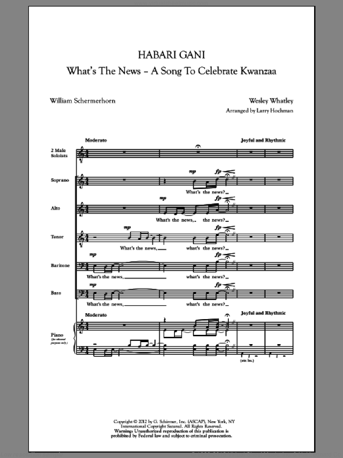 Habari Gani (What's The News) sheet music for choir (SATB) by Wesley Whatley, Larry Hochman, Judith Clurman and William Schermerhorn, intermediate choir (SATB). Score Image Preview.