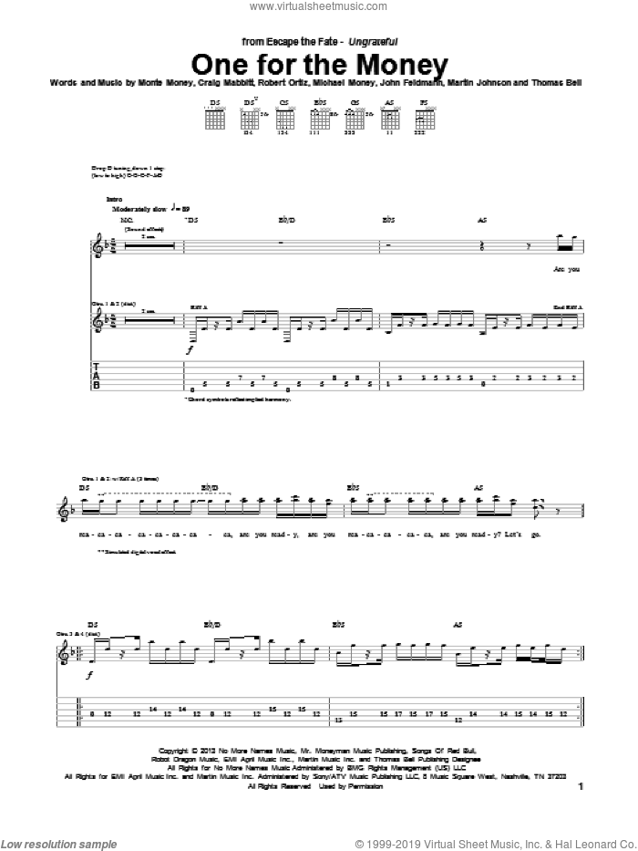 One For The Money sheet music for guitar (tablature) by Escape the Fate, Craig Mabbitt, John Feldmann, Martin Johnson, Michael Money, Monte Money, Robert Ortiz and Thomas Bell, intermediate. Score Image Preview.