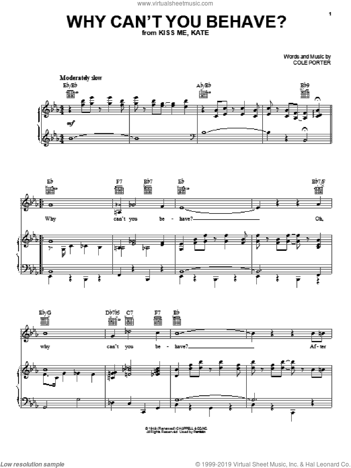 Why Can't You Behave? sheet music for voice, piano or guitar by Cole Porter, intermediate skill level