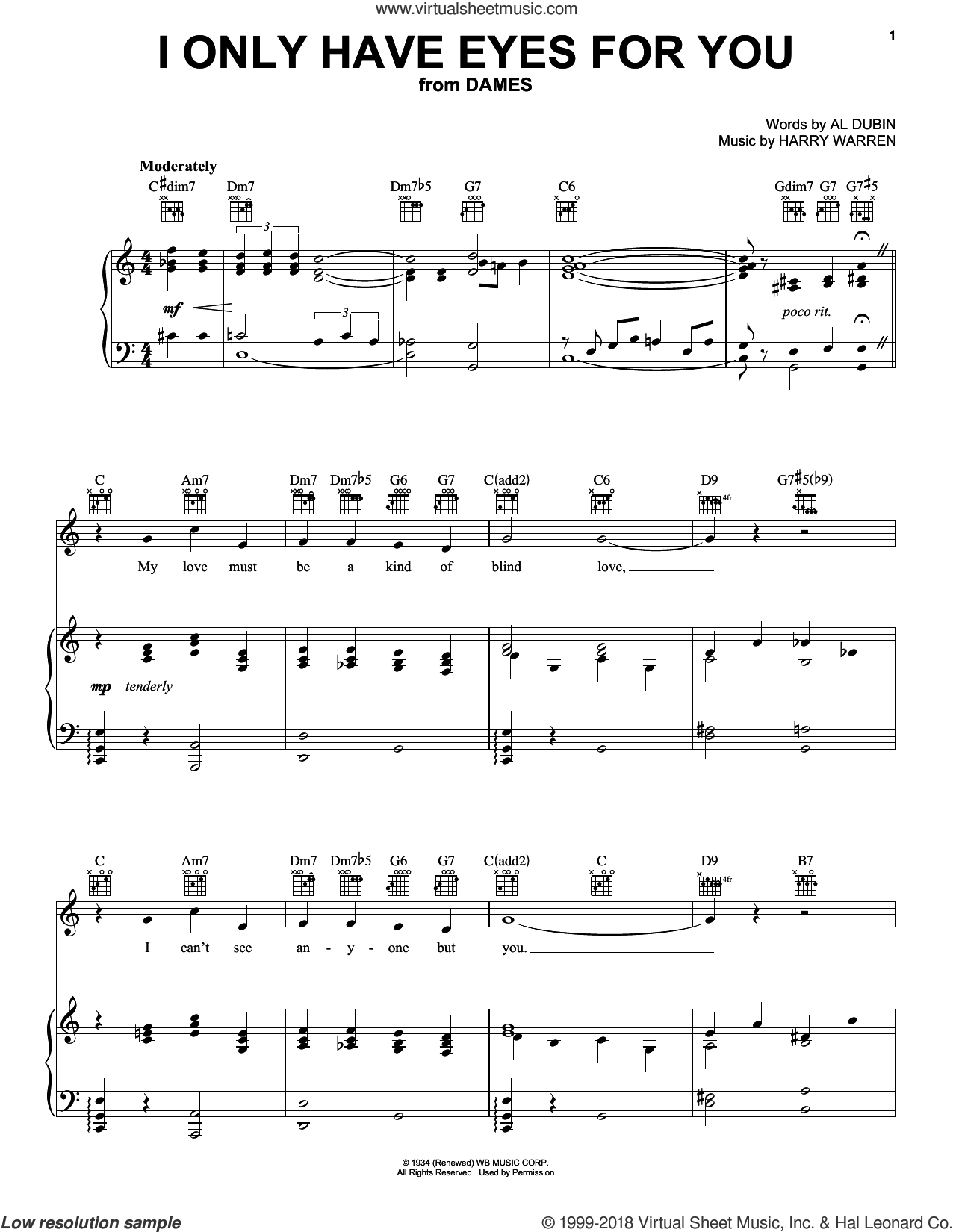 I Only Have Eyes For You sheet music for voice, piano or guitar by Harry Warren and Al Dubin, intermediate skill level