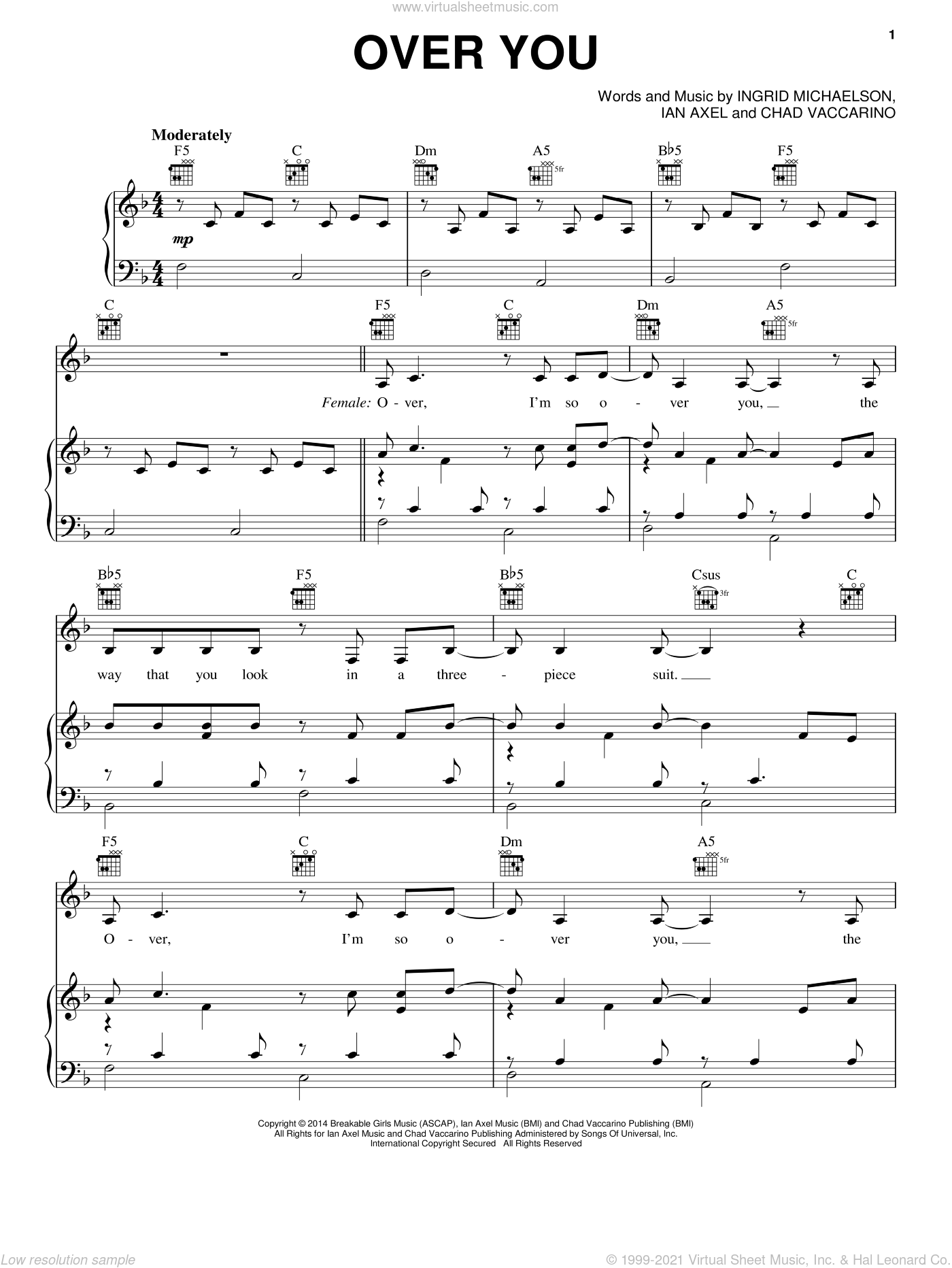 Over You sheet music for voice, piano or guitar by Ingrid Michaelson, Chad Vaccarino and Ian Axel, intermediate skill level