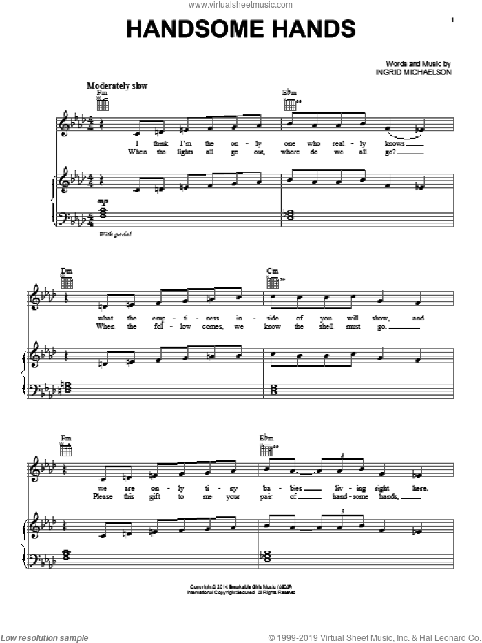 Handsome Hands sheet music for voice, piano or guitar by Ingrid Michaelson, intermediate skill level