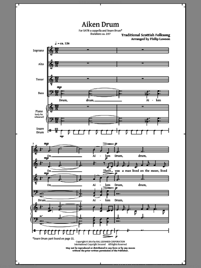 Aiken Drum sheet music for choir (SATB) by Philip Lawson, intermediate. Score Image Preview.