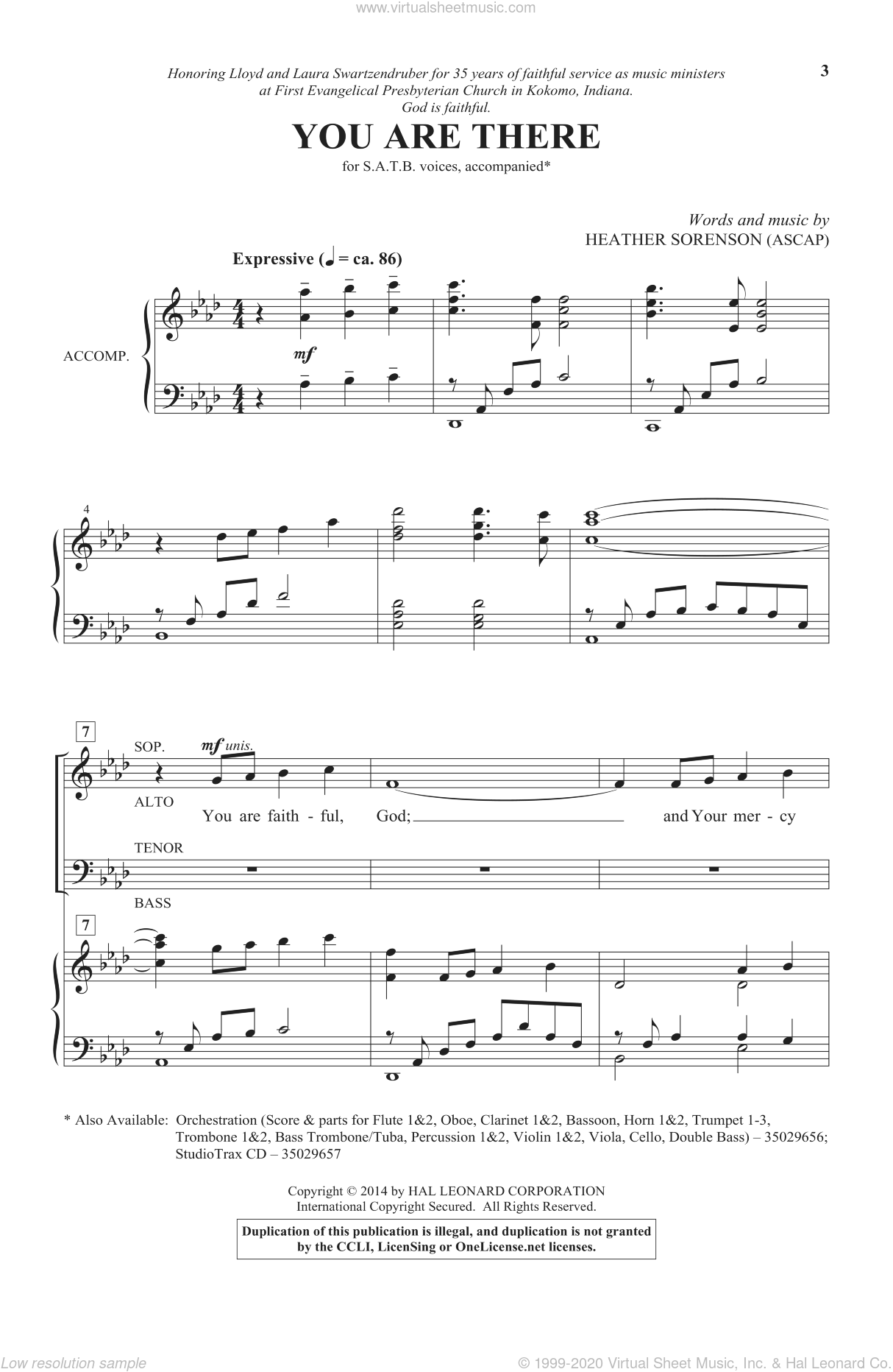 You Are There sheet music for choir (SATB) by Heather Sorenson. Score Image Preview.