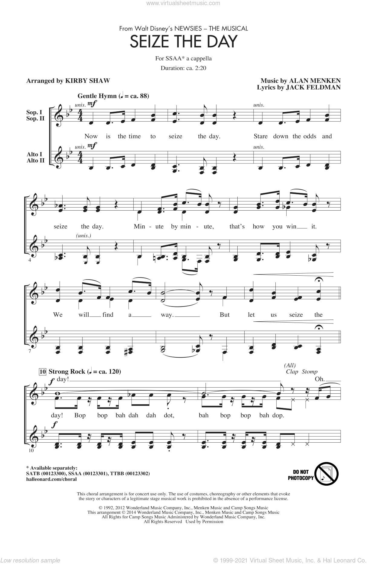 Seize The Day (from Newsies The Musical) (arr. Kirby Shaw) sheet music for choir (SSA: soprano, alto) by Alan Menken, Jack Feldman and Kirby Shaw, intermediate skill level