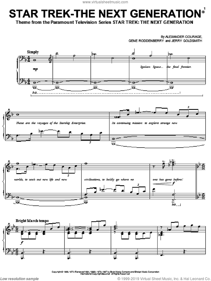 Star Trek - The Next Generation(R) sheet music for voice, piano or guitar by Jerry Goldsmith