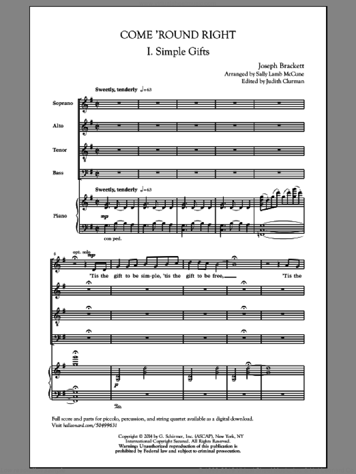 COME 'ROUND RIGHT sheet music for choir and piano (SATB) by Sally Lamb McCune