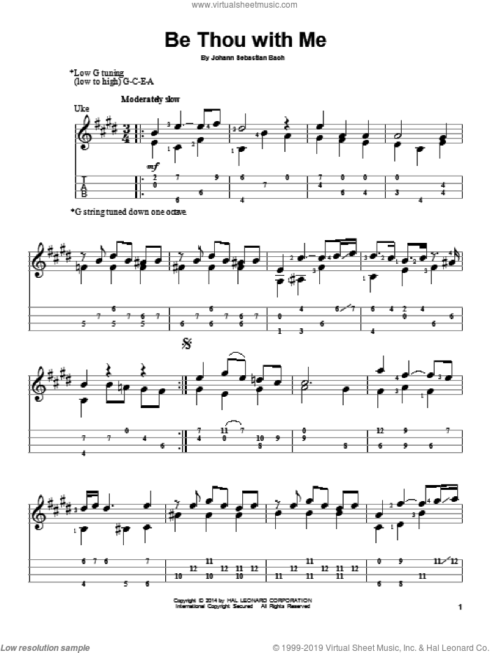 Be Thou With Me sheet music for ukulele by Johann Sebastian Bach, classical score, intermediate. Score Image Preview.