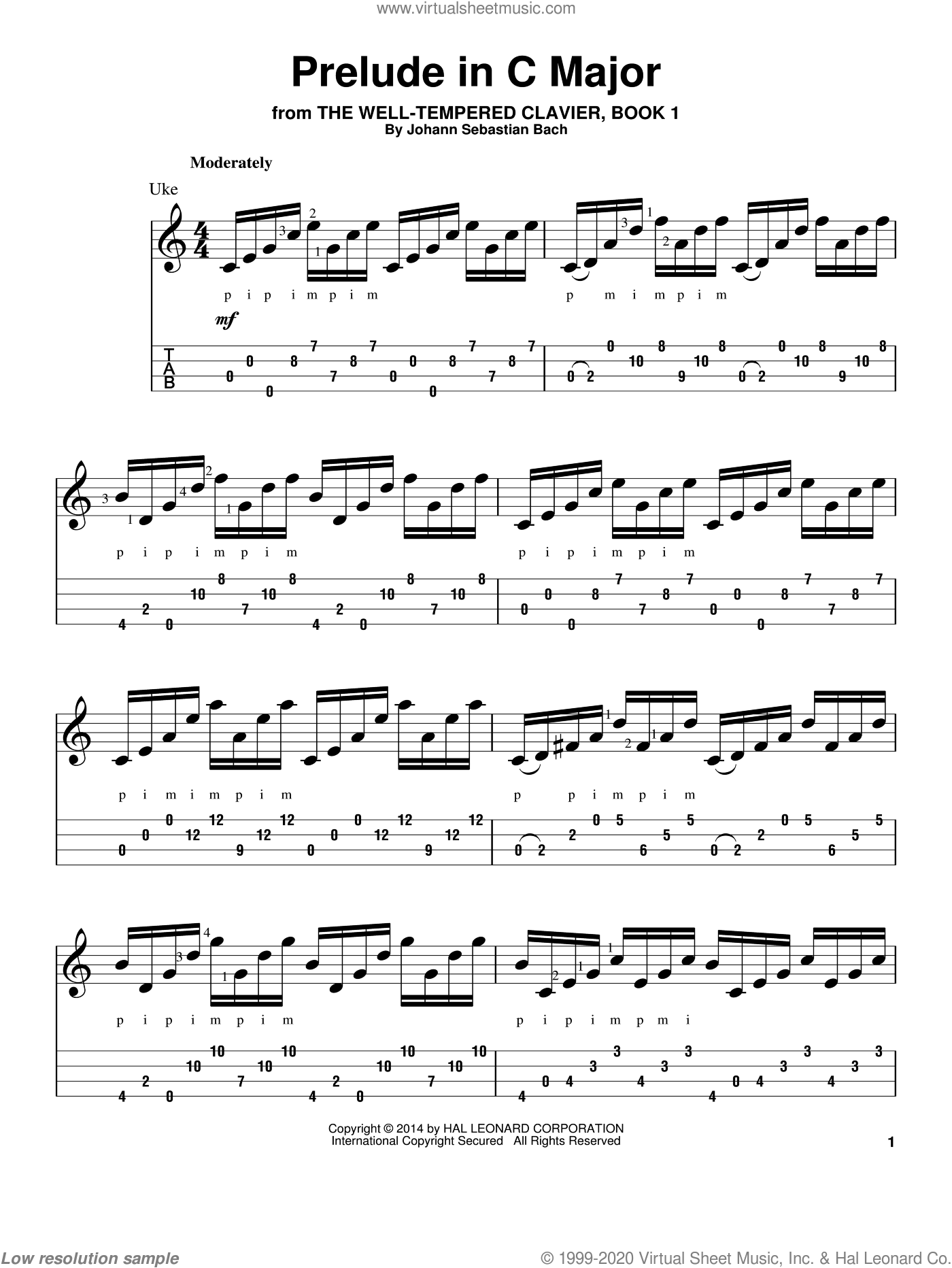 Prelude in C Major sheet music for ukulele by Johann Sebastian Bach, classical score, intermediate skill level
