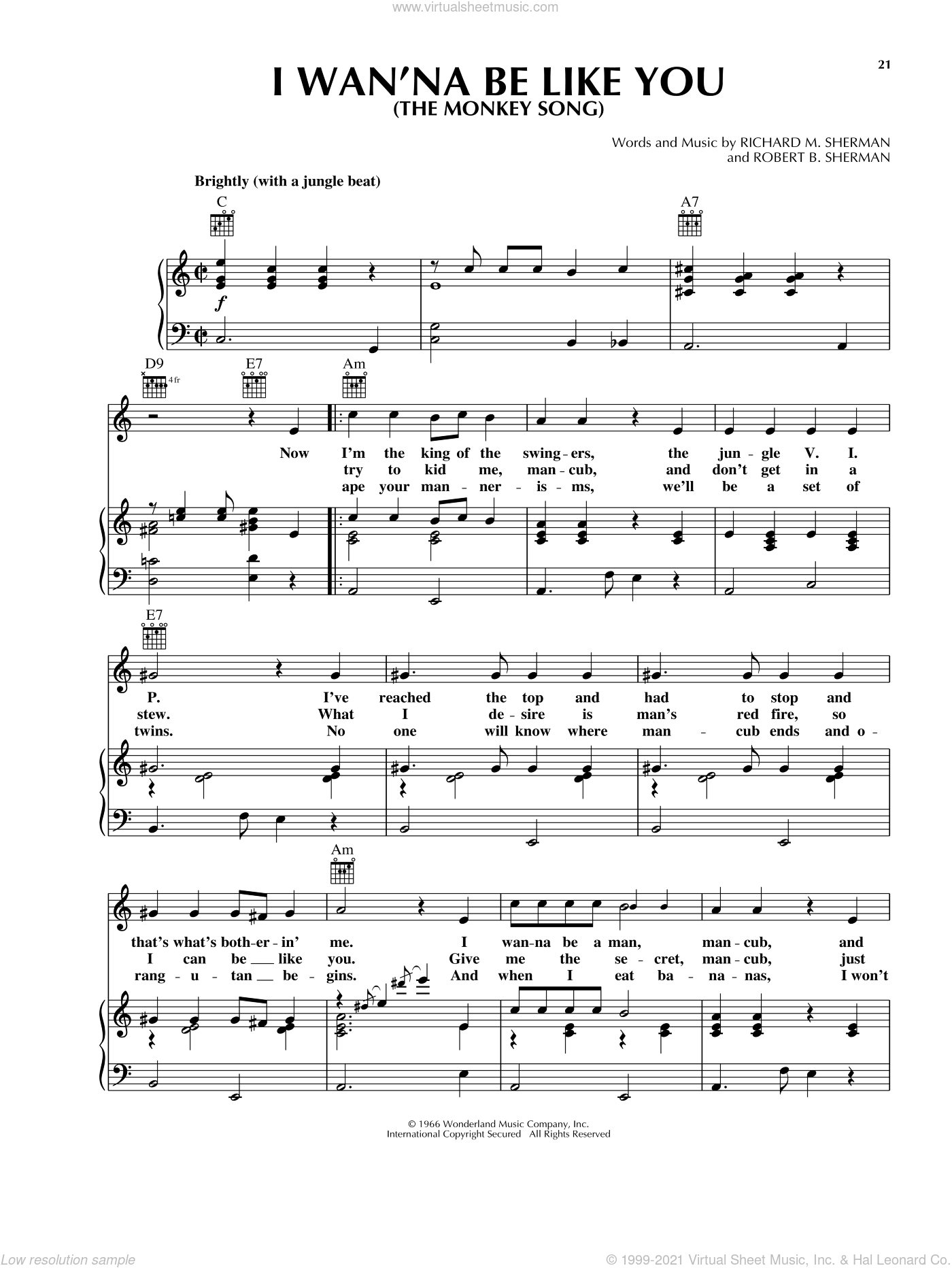 I Wan'na Be Like You (The Monkey Song) sheet music for voice, piano or guitar by Robert B. Sherman and Richard M. Sherman. Score Image Preview.