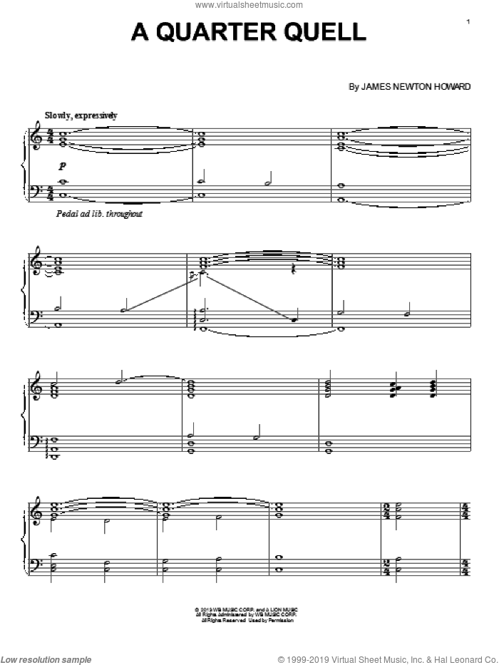 A Quarter Quell sheet music for piano solo by James Newton Howard, intermediate skill level