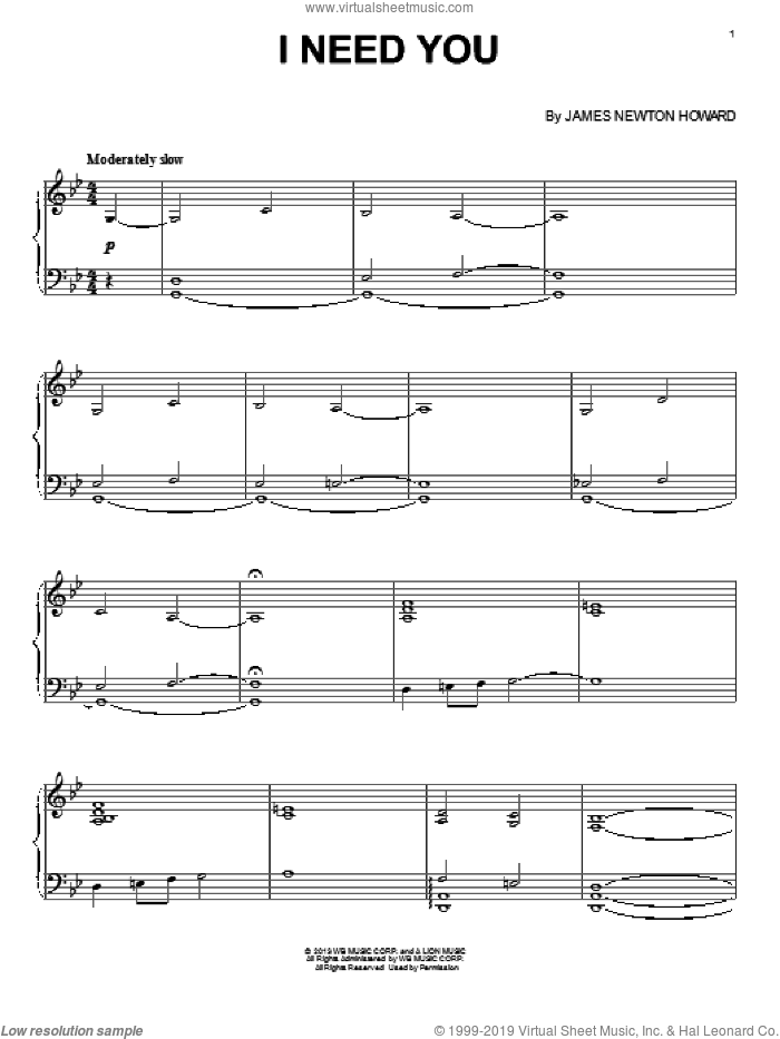I Need You sheet music for piano solo by James Newton Howard, intermediate skill level