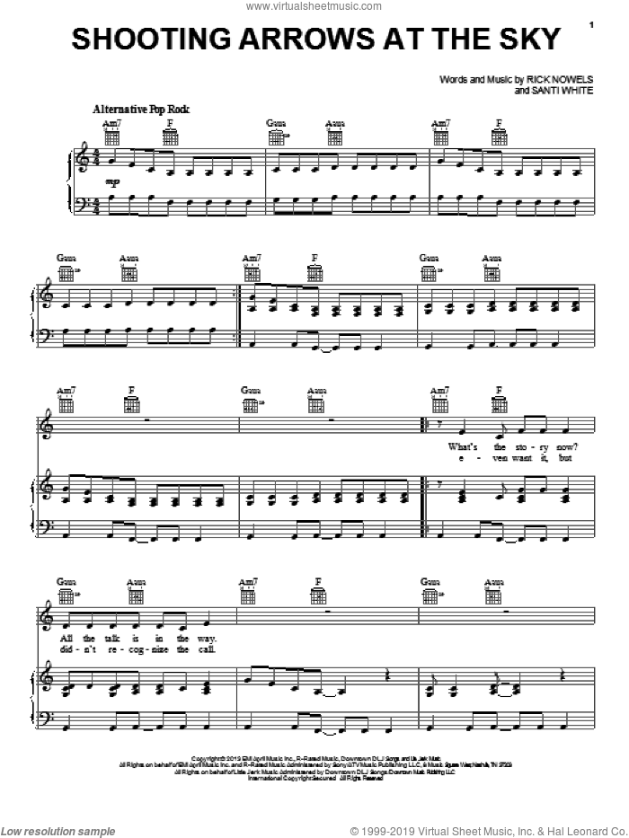 Shooting Arrows At The Sky sheet music for voice, piano or guitar by Santigold and Rick Nowels, intermediate. Score Image Preview.