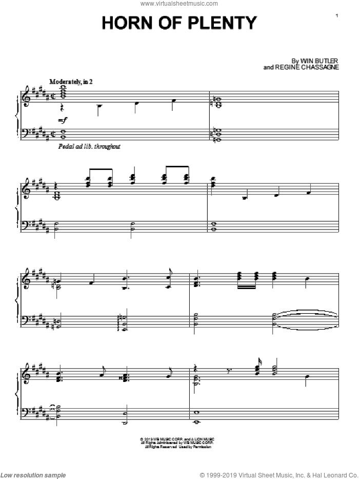 Horn Of Plenty sheet music for piano solo by Arcade Fire, James Newton Howard, Regine Chassagne and Win Butler, intermediate skill level
