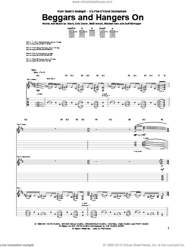 Beggars And Hangers On sheet music for guitar (tablature) by Slash's Snakepit, Duff McKagan, Eric Dover, Matt Sorum, Mike Inez and Slash, intermediate skill level