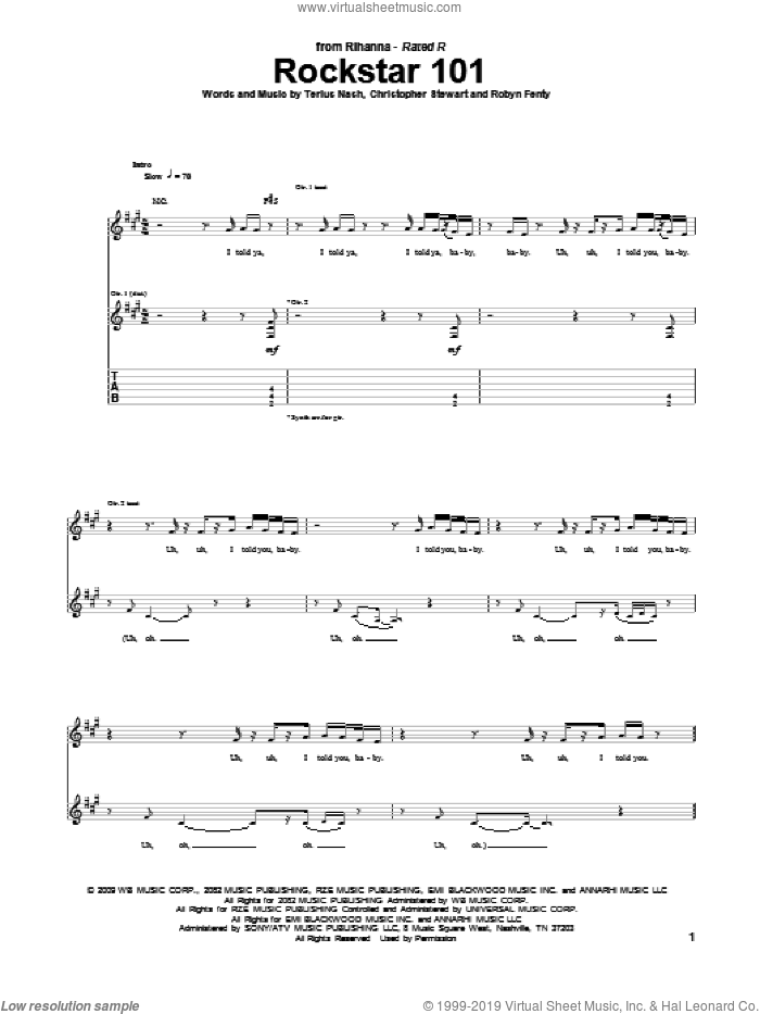 Rockstar 101 sheet music for guitar (tablature) by Terius Nash, Christopher Stewart, Rihanna, Robyn Fenty and Slash. Score Image Preview.
