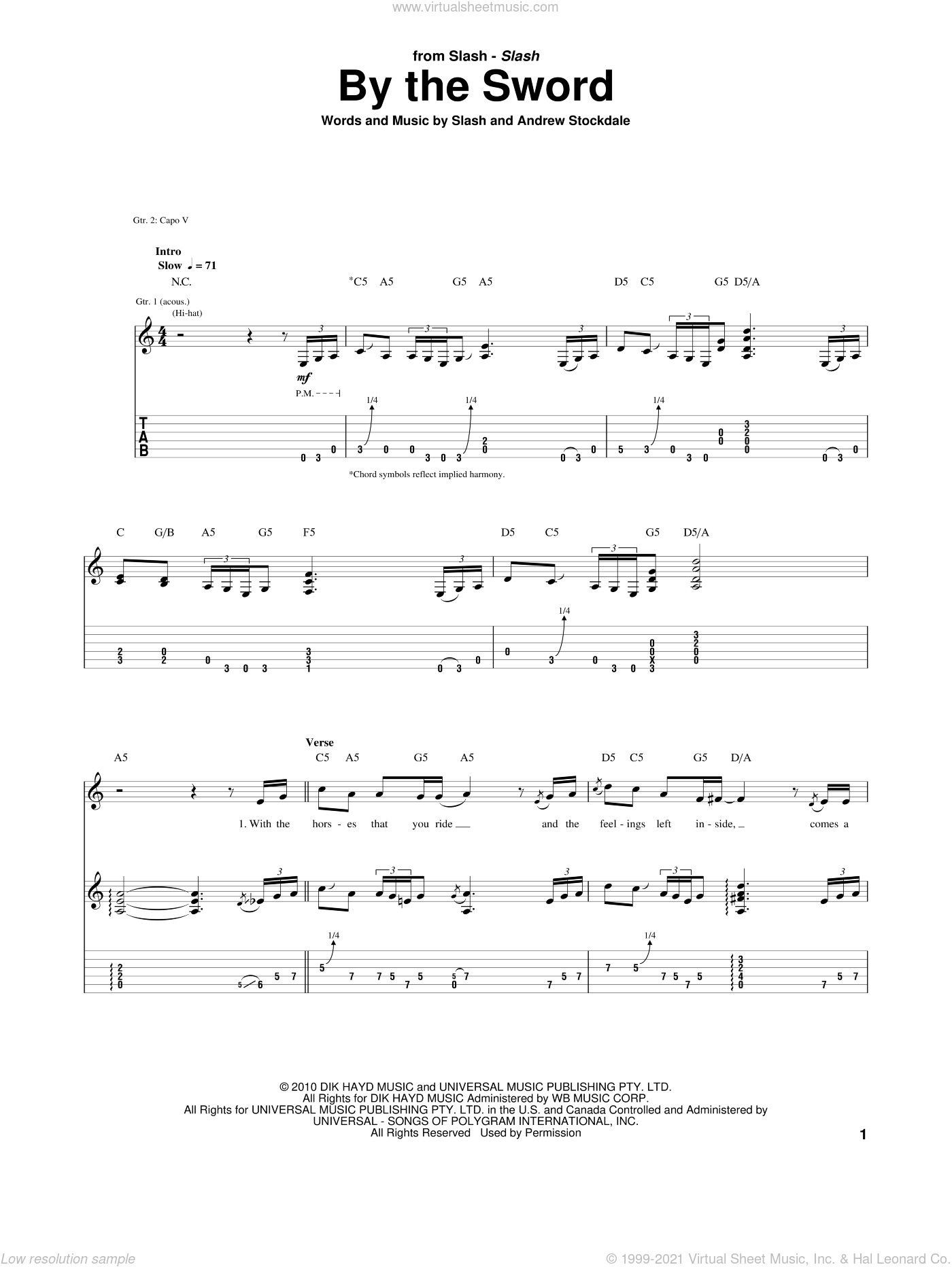 By The Sword sheet music for guitar (tablature) by Slash and Andrew Stockdale. Score Image Preview.
