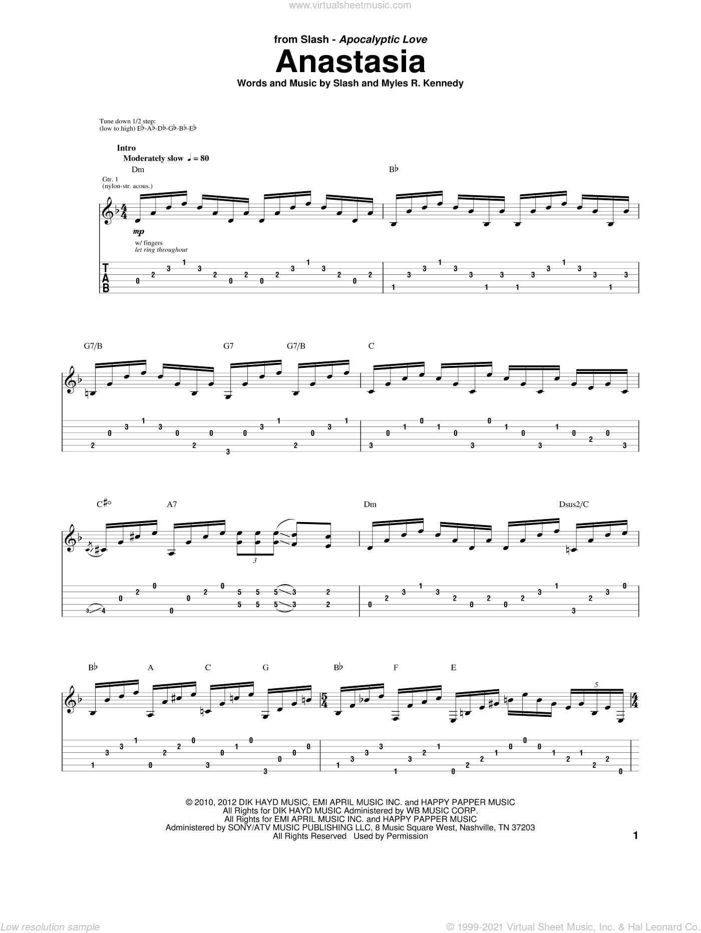 Anastasia sheet music for guitar (tablature) by Slash and Myles R. Kennedy, intermediate skill level