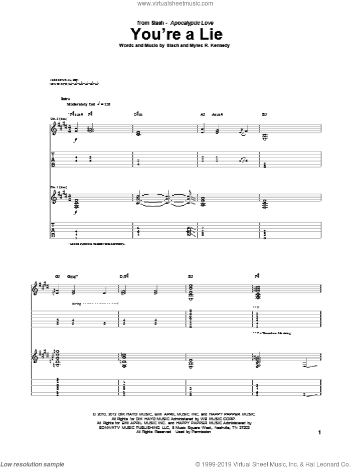 You're A Lie sheet music for guitar (tablature) by Slash and Myles R. Kennedy, intermediate. Score Image Preview.