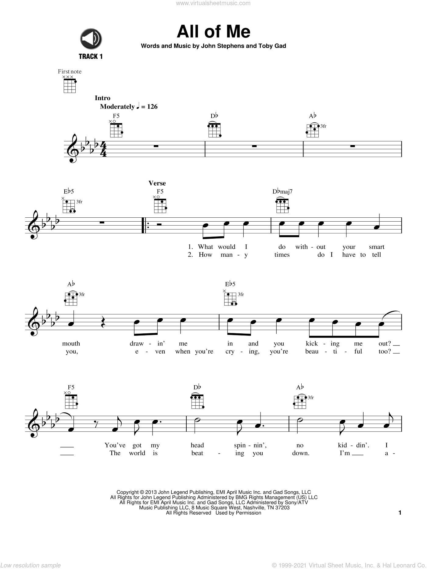 All Of Me sheet music for ukulele by Toby Gad, John Legend and John Stephens. Score Image Preview.