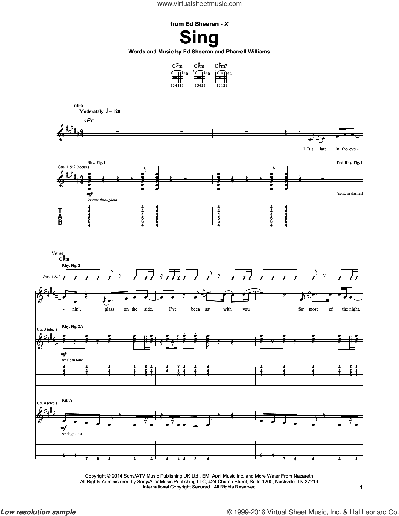 Sing sheet music for guitar (tablature) by Ed Sheeran and Pharrell Williams, intermediate guitar (tablature). Score Image Preview.