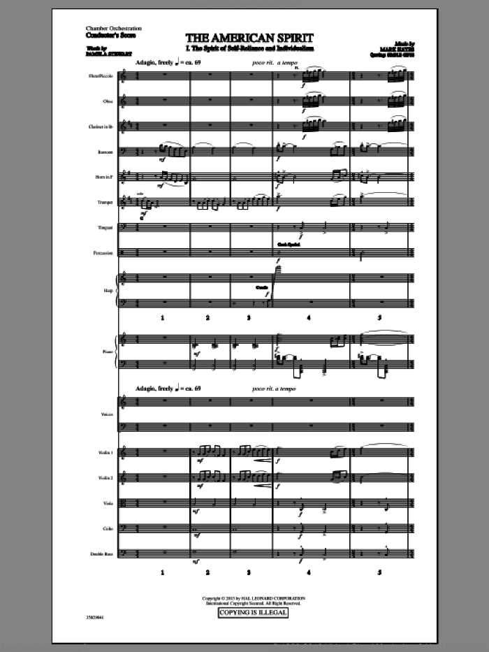 The American Spirit (COMPLETE) sheet music for orchestra/band (chamber ensemble) by Mark Hayes and Pamela T. Stewart, intermediate. Score Image Preview.