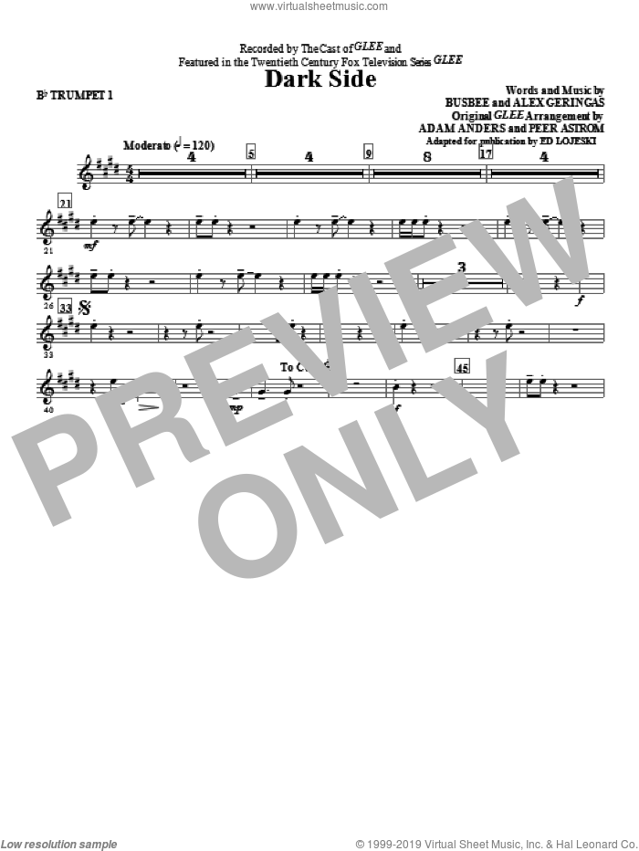 Dark Side (complete set of parts) sheet music for orchestra/band by Glee Cast, Ed Lojeski and Kelly Clarkson, intermediate. Score Image Preview.