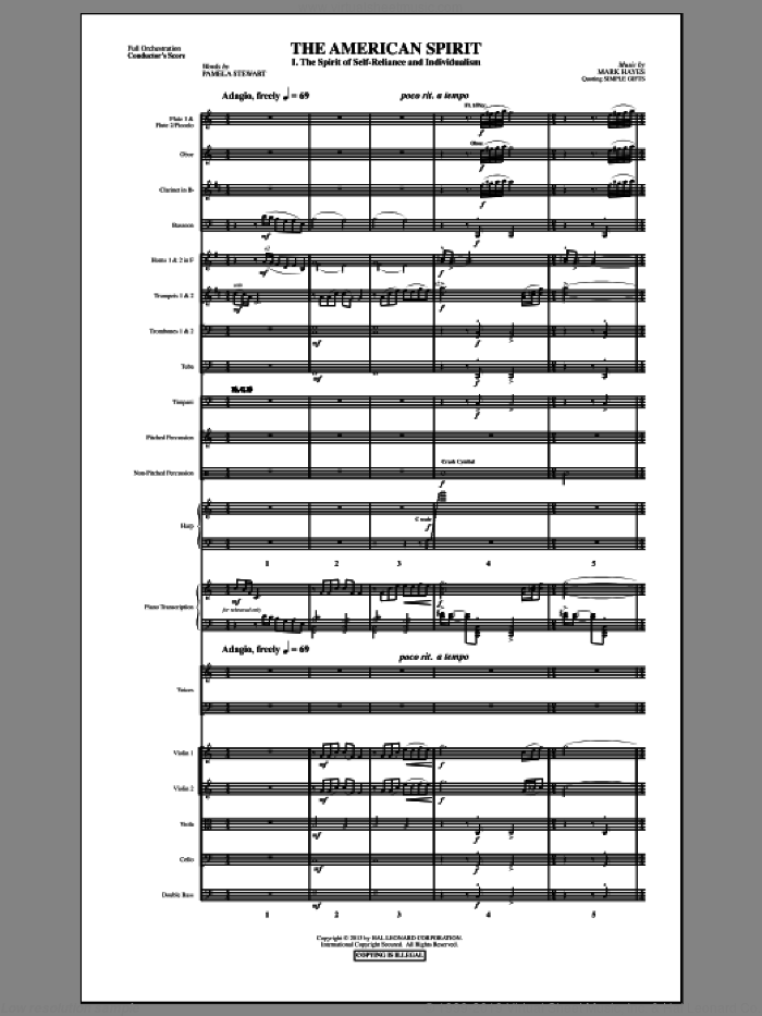 The American Spirit (COMPLETE) sheet music for orchestra/band by Mark Hayes and Pamela T. Stewart, intermediate skill level