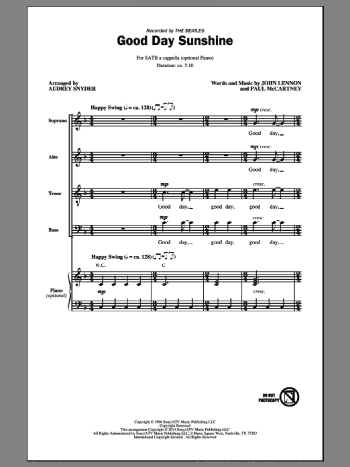Good Day Sunshine sheet music for choir (SATB) by Audrey Snyder, John Lennon, Paul McCartney and The Beatles. Score Image Preview.