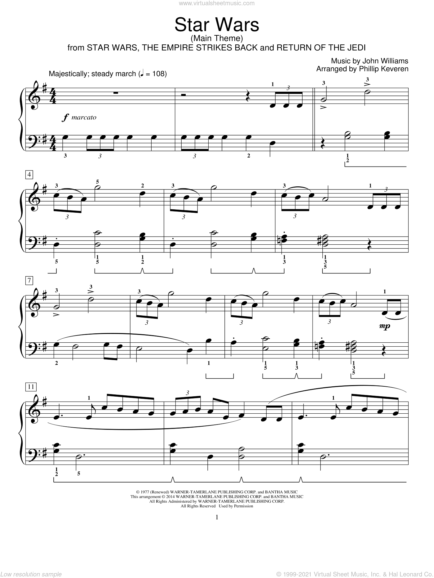 Star Wars (Main Theme) sheet music for piano solo (elementary) by John Williams and Phillip Keveren, classical score, beginner piano (elementary)