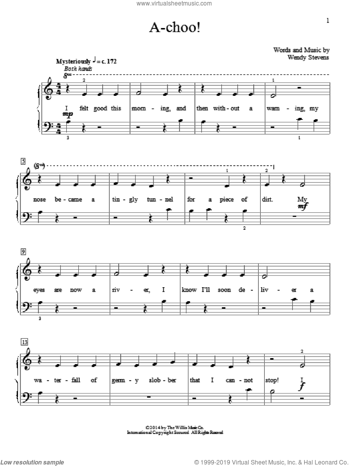 A-Choo! sheet music for piano solo (elementary) by Wendy Stevens. Score Image Preview.