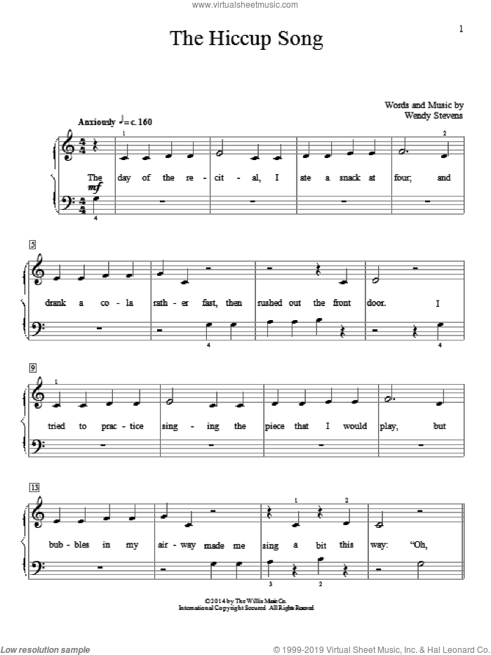The Hiccup Song sheet music for piano solo (elementary) by Wendy Stevens. Score Image Preview.