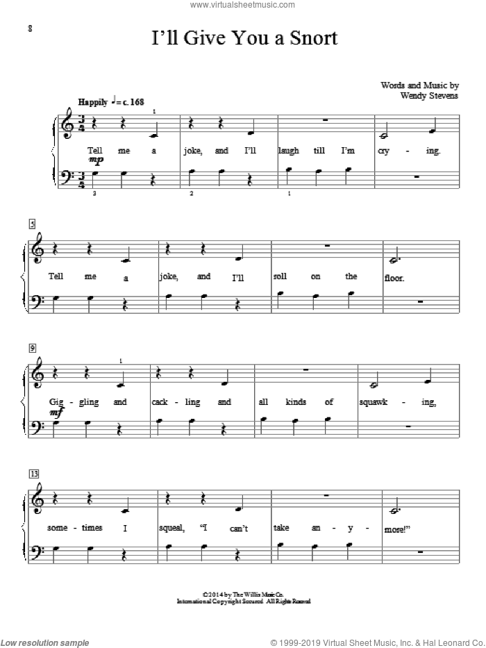 I'll Give You A Snort sheet music for piano solo (elementary) by Wendy Stevens, beginner piano (elementary)