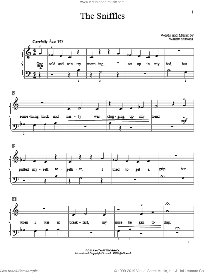 The Sniffles sheet music for piano solo (elementary) by Wendy Stevens, beginner piano (elementary)