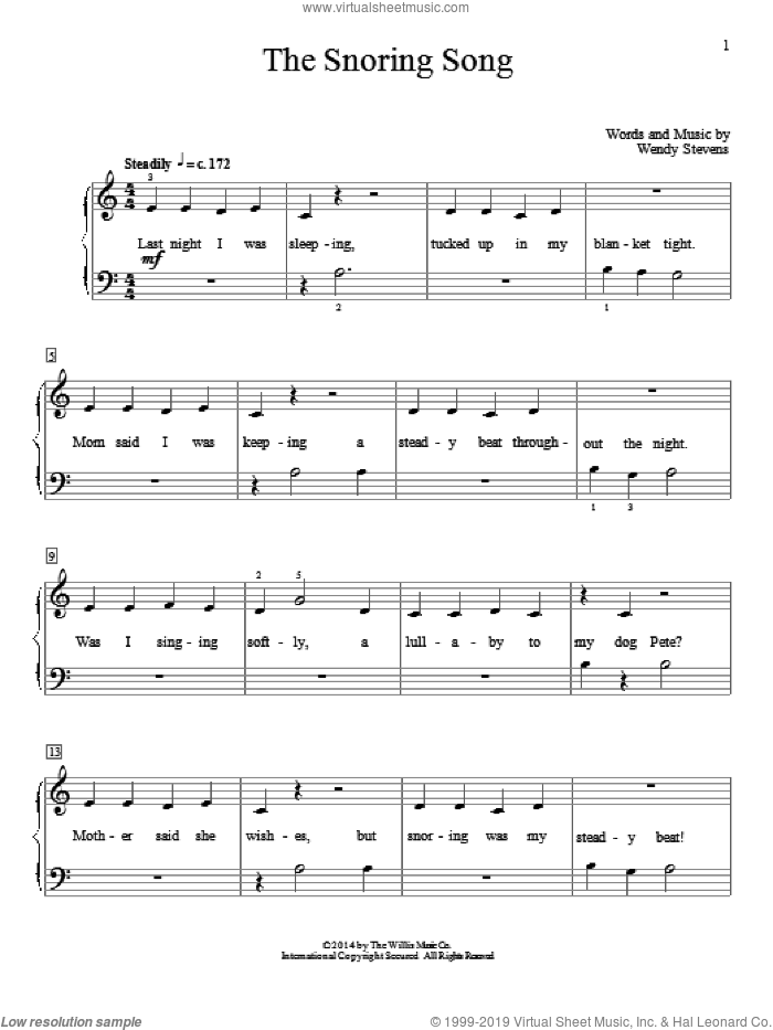 The Snoring Song sheet music for piano solo (elementary) by Wendy Stevens, beginner piano (elementary). Score Image Preview.