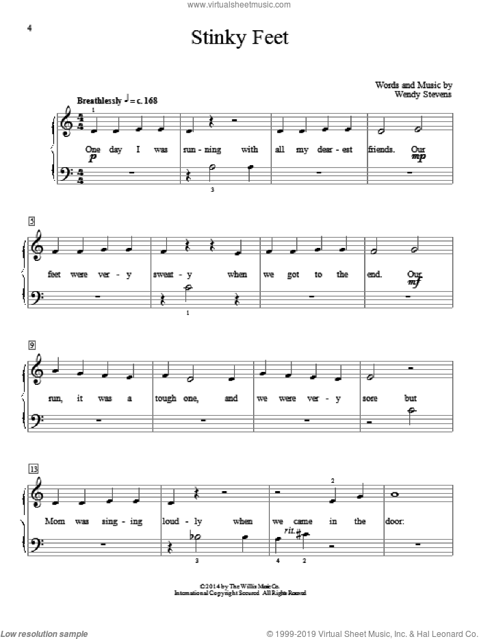 Stinky Feet sheet music for piano solo (elementary) by Wendy Stevens, beginner piano (elementary). Score Image Preview.