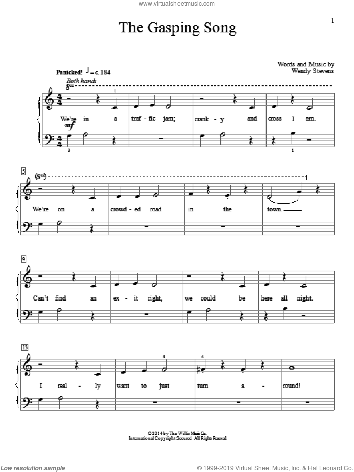 The Gasping Song sheet music for piano solo (elementary) by Wendy Stevens. Score Image Preview.