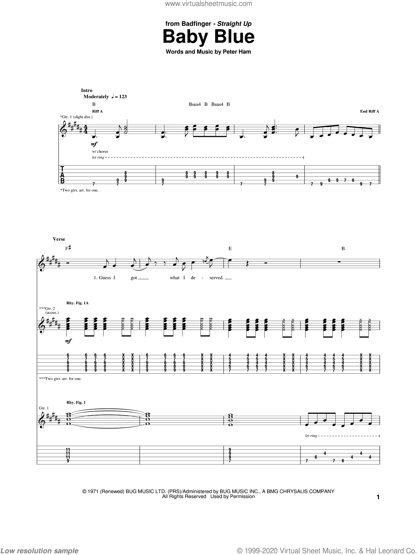 Baby Blue sheet music for guitar (tablature) by Badfinger and Pete Ham, intermediate. Score Image Preview.