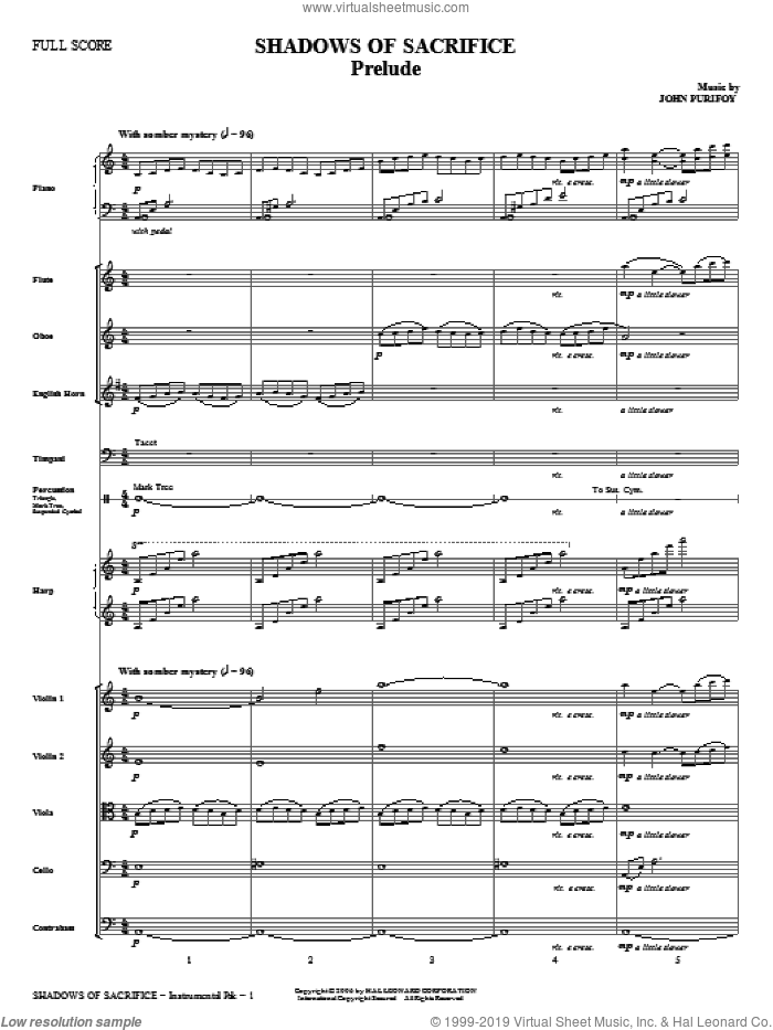Shadows of Sacrifice sheet music for orchestra/band (full score) by Charles Wesley