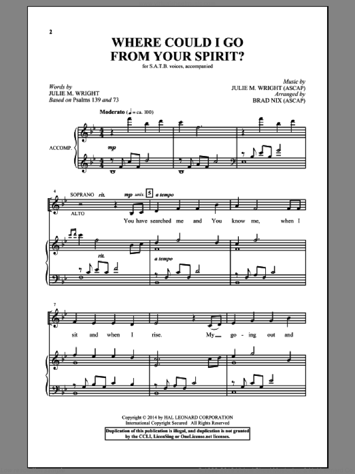Where Could I Go From Your Spirit? sheet music for choir and piano (SATB) by Julie M. Wright