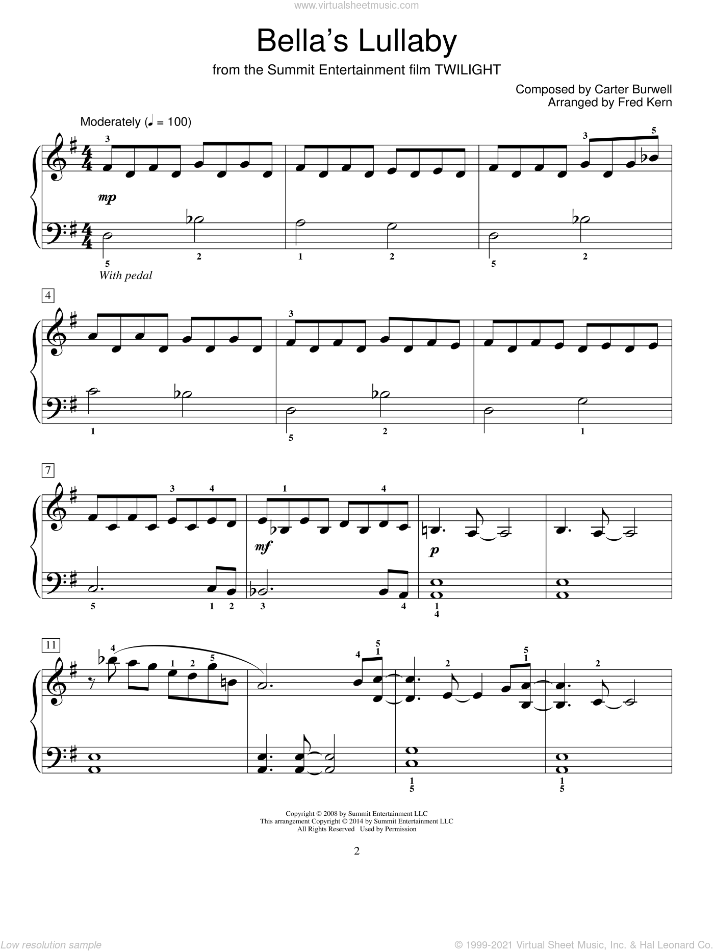 Bella's Lullaby sheet music for piano solo (elementary) by Carter Burwell and Fred Kern. Score Image Preview.