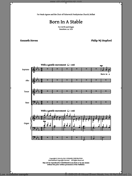 Born In A Stable sheet music for choir (organ) by Kenneth Steven and Philip Stopford. Score Image Preview.