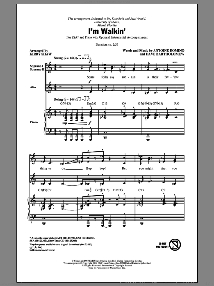 I'm Walkin' sheet music for choir and piano (SSA) by Dave Bartholomew, Kirby Shaw, Fats Domino, Ricky Nelson and Antoine Domino. Score Image Preview.