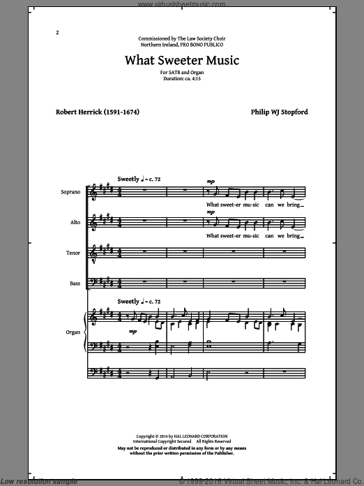 What Sweeter Music sheet music for choir and piano (SATB) by Robert Herrick and Philip Stopford. Score Image Preview.