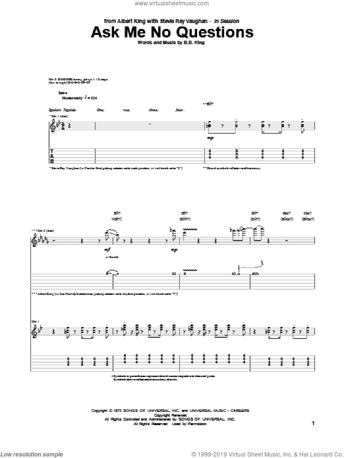 Ask Me No Questions sheet music for guitar (tablature) by Albert King & Stevie Ray Vaughan, Albert King, B.B. King and Stevie Ray Vaughan, intermediate
