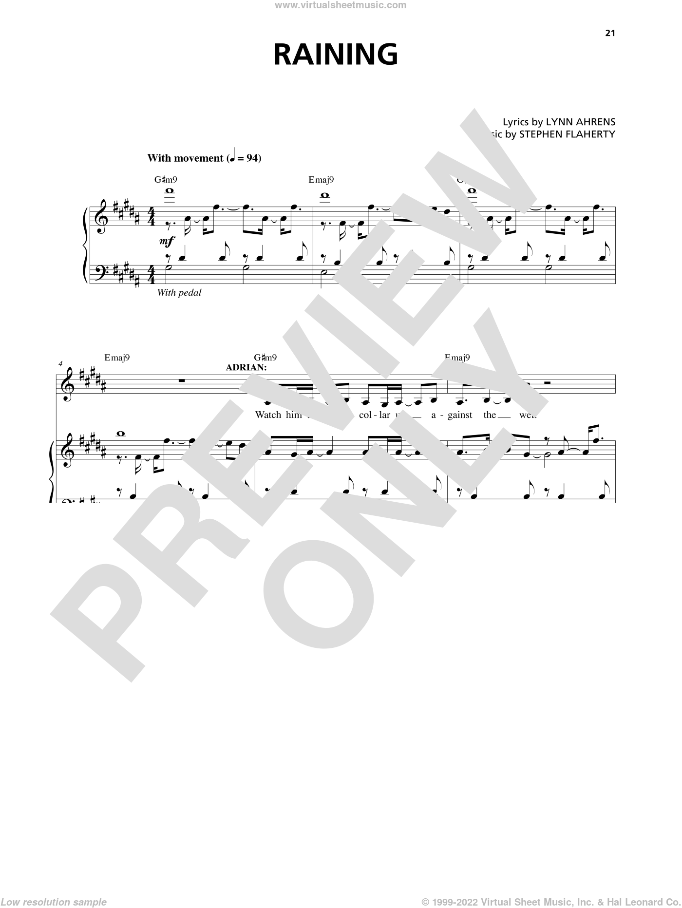 Raining sheet music for voice and piano by Stephen Flaherty and Lynn Ahrens, intermediate skill level