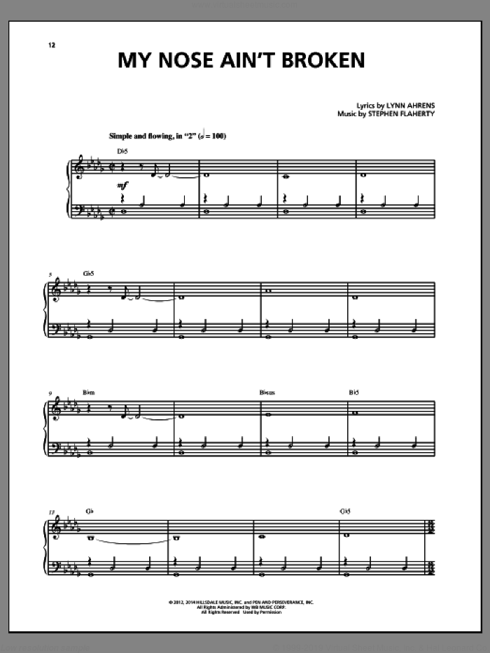 My Nose Ain't Broken sheet music for voice and piano by Stephen Flaherty and Lynn Ahrens, intermediate skill level