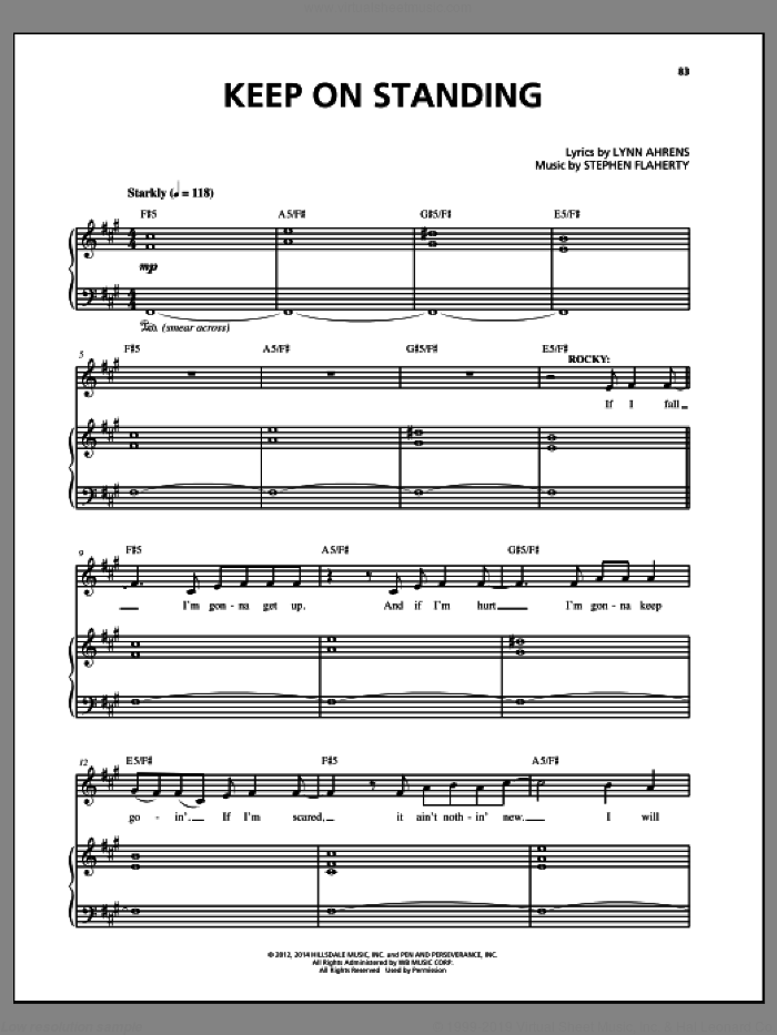 Keep On Standing sheet music for voice and piano by Stephen Flaherty and Lynn Ahrens, intermediate skill level