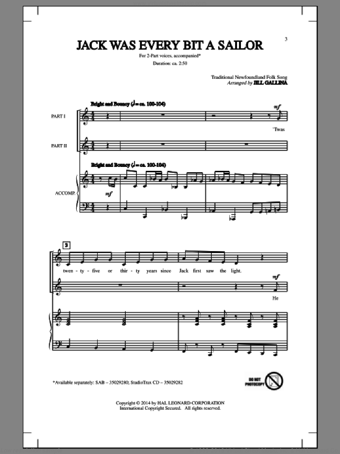 Jack Was Ev'ry Inch A Sailor sheet music for choir (2-Part) by Jill Gallina and Traditional Newfoundland Folk, intermediate duet