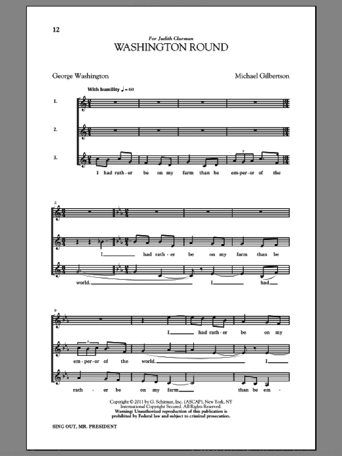 Washington Round sheet music for choir by George Washington and Michael Gilbertson. Score Image Preview.